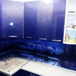 Кухня угловая, фиолетовая, изготовлена на заказ в Томске, цена: 55600